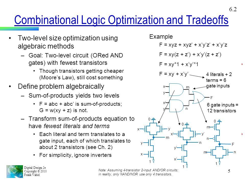 Digital Design 2e Copyright © 2010 Frank Vahid 5 Combinational Logic Optimization and Tradeoffs Two-level size optimization using algebraic methods –G