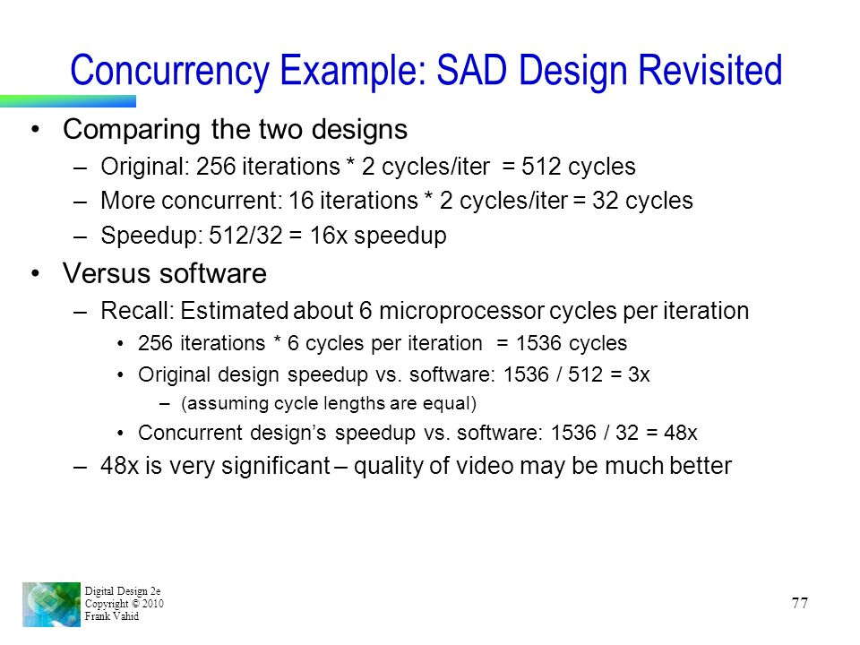 Digital Design 2e Copyright © 2010 Frank Vahid 77 Concurrency Example: SAD Design Revisited Comparing the two designs –Original: 256 iterations * 2 cy