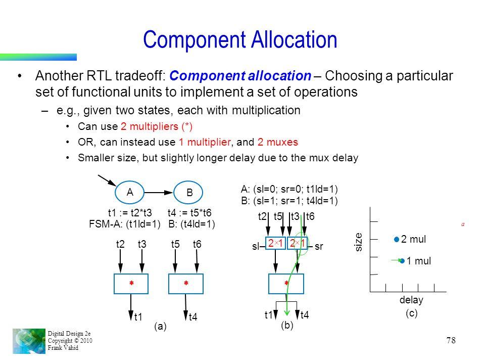 Digital Design 2e Copyright © 2010 Frank Vahid 78 Component Allocation Another RTL tradeoff: Component allocation – Choosing a particular set of funct