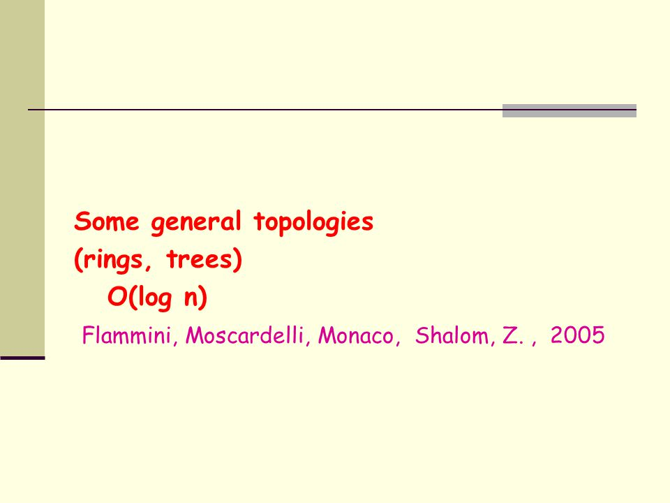 Some general topologies (rings, trees) O(log n) Flammini, Moscardelli, Monaco, Shalom, Z., 2005