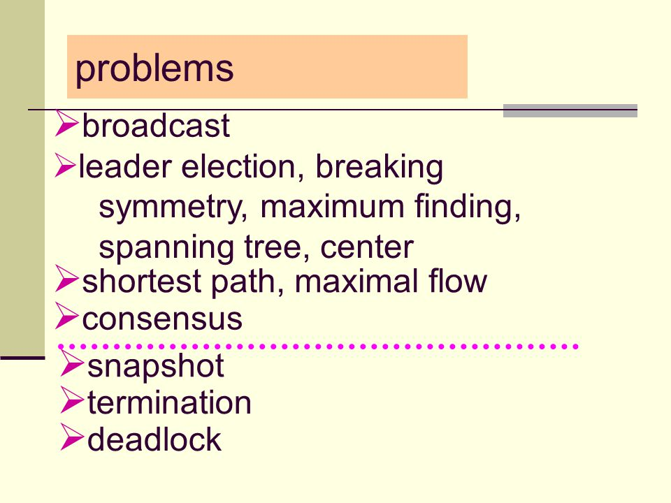 problems  broadcast  snapshot  consensus  shortest path, maximal flow  leader election, breaking symmetry, maximum finding, spanning tree, center