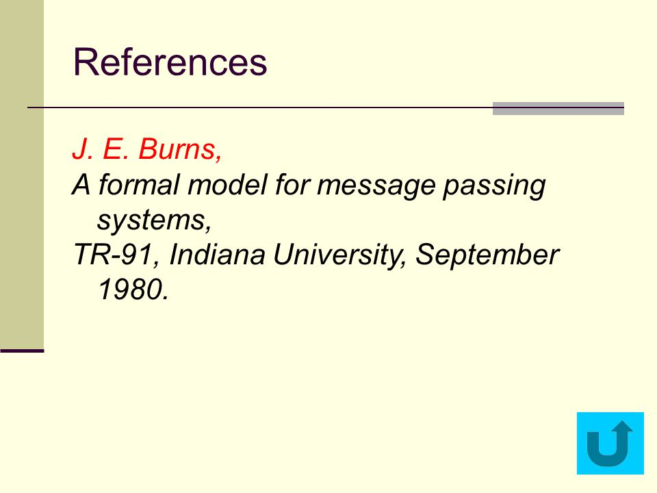 References J. E. Burns, A formal model for message passing systems, TR-91, Indiana University, September 1980.