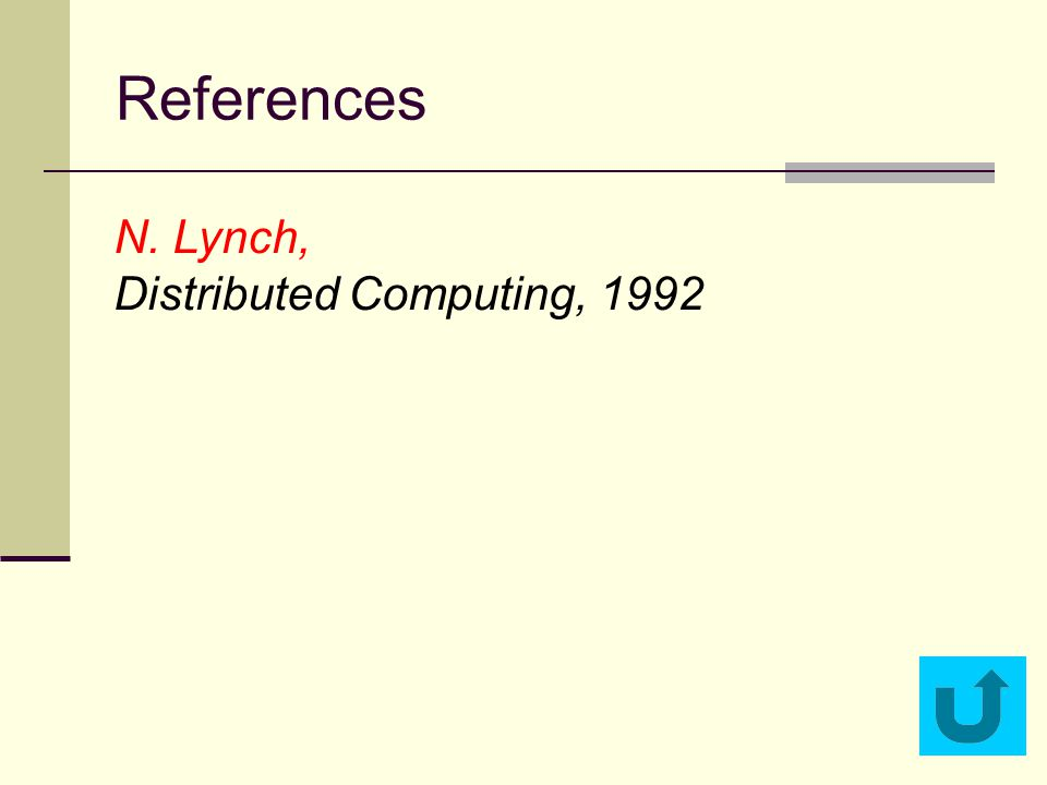References N. Lynch, Distributed Computing, 1992