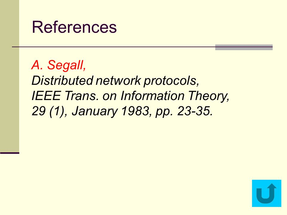 References A. Segall, Distributed network protocols, IEEE Trans. on Information Theory, 29 (1), January 1983, pp. 23-35.