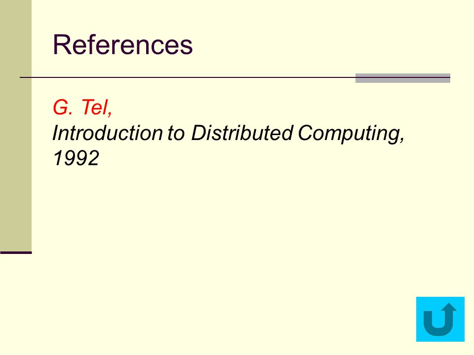 References G. Tel, Introduction to Distributed Computing, 1992