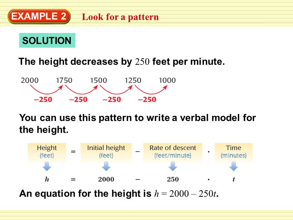 EXAMPLE 2 Look for a pattern SOLUTION The height decreases by 250 feet per minute. You can use this pattern to write a verbal model for the height. An
