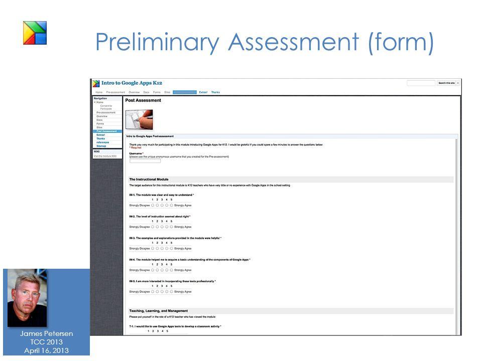 James Petersen TCC 2013 April 16, 2013 Preliminary Assessment (form)