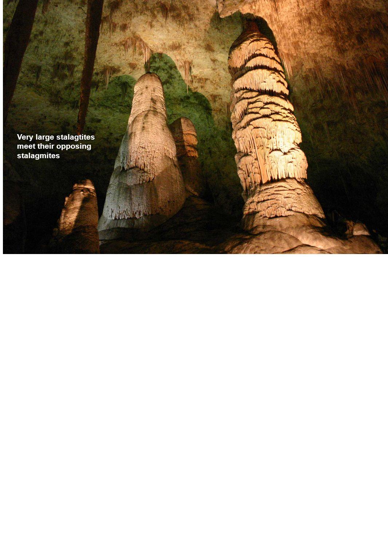 Very large stalagtites meet their opposing stalagmites