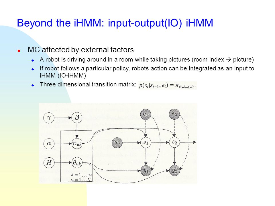 Beyond the iHMM: input-output(IO) iHMM n MC affected by external factors u A robot is driving around in a room while taking pictures (room index  pic