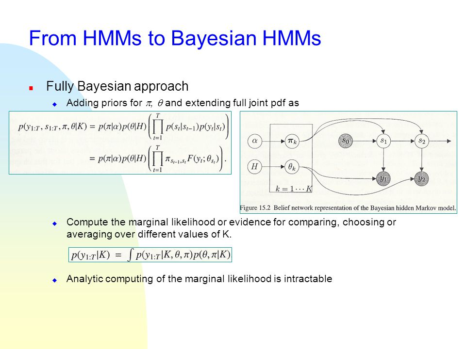 From HMMs to Bayesian HMMs n Fully Bayesian approach u Adding priors for ,  and extending full joint pdf as u Compute the marginal likelihood or evi