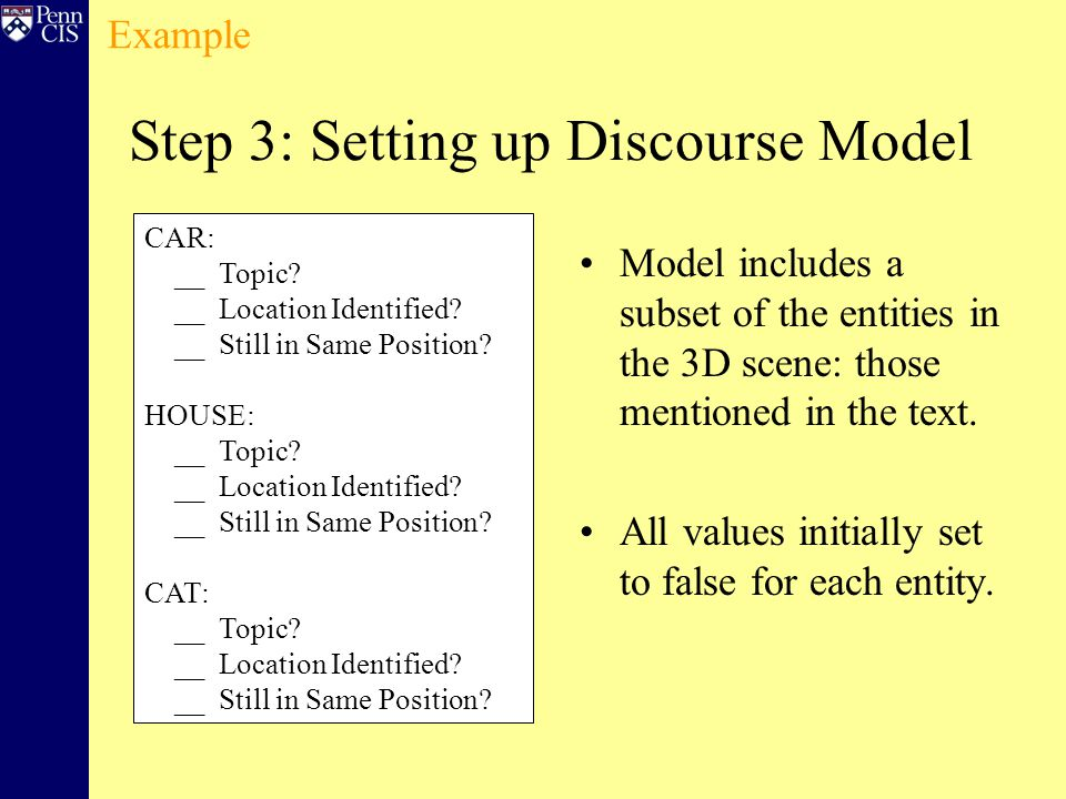 Step 3: Setting up Discourse Model Model includes a subset of the entities in the 3D scene: those mentioned in the text.