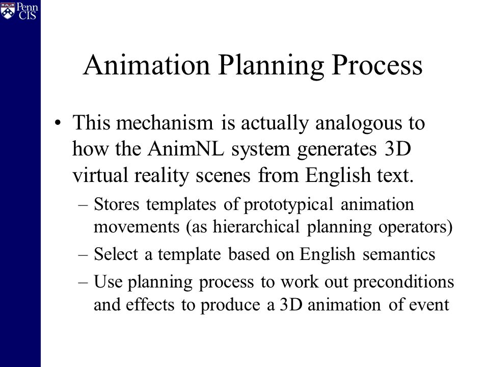 Animation Planning Process This mechanism is actually analogous to how the AnimNL system generates 3D virtual reality scenes from English text.
