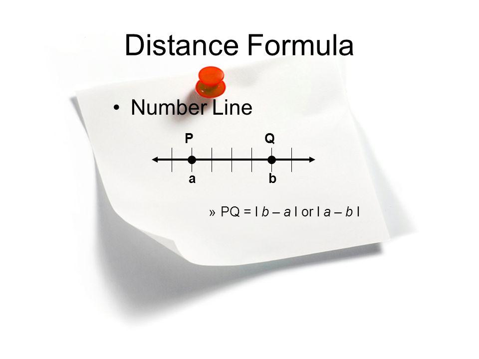 PQ ab Distance Formula Number Line »PQ = l b – a l or l a – b l