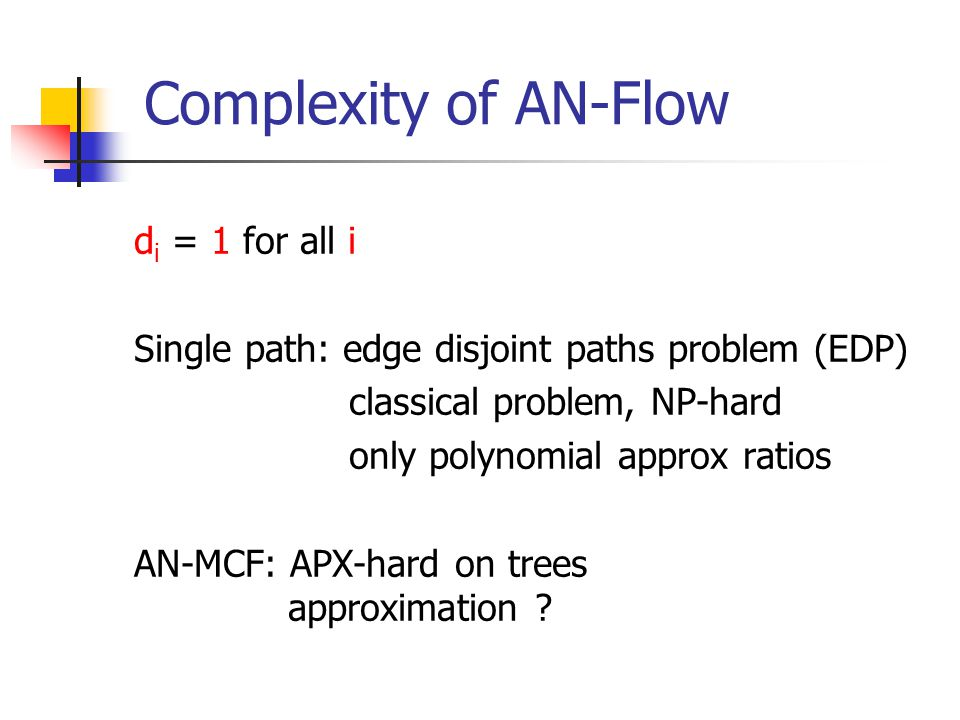 Complexity of AN-Flow d i = 1 for all i Single path: edge disjoint paths problem (EDP) classical problem, NP-hard only polynomial approx ratios AN-MCF: APX-hard on trees approximation