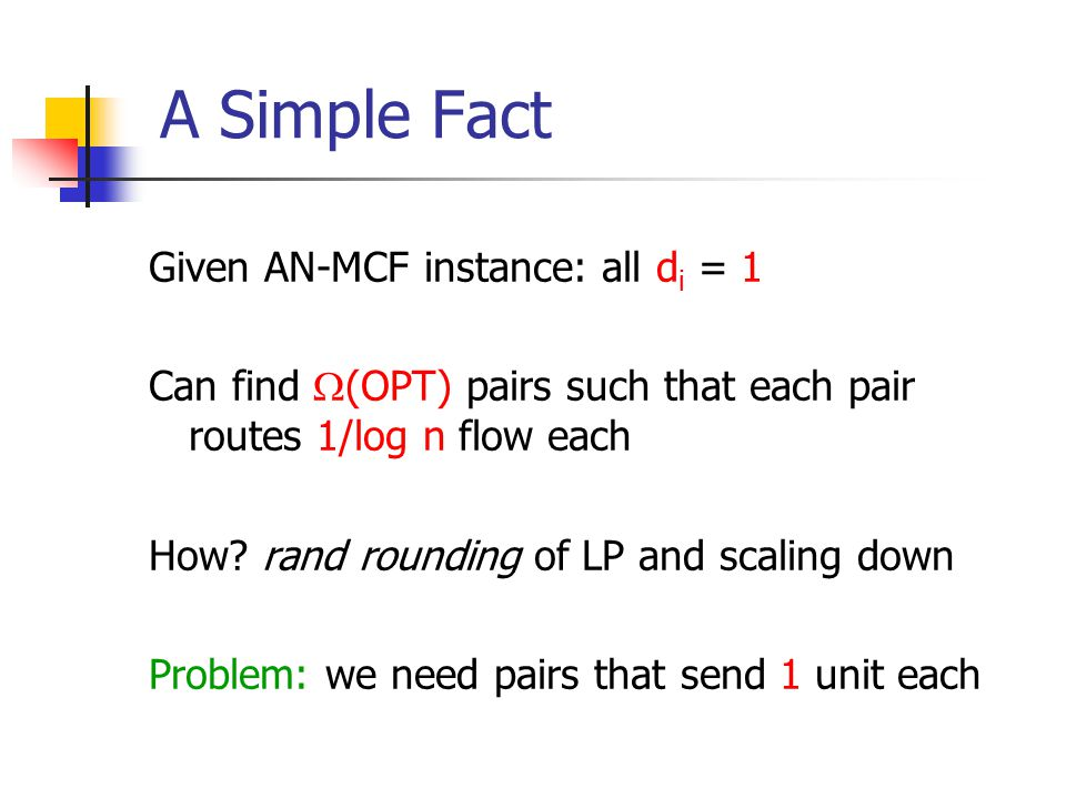 A Simple Fact Given AN-MCF instance: all d i = 1 Can find  (OPT) pairs such that each pair routes 1/log n flow each How.