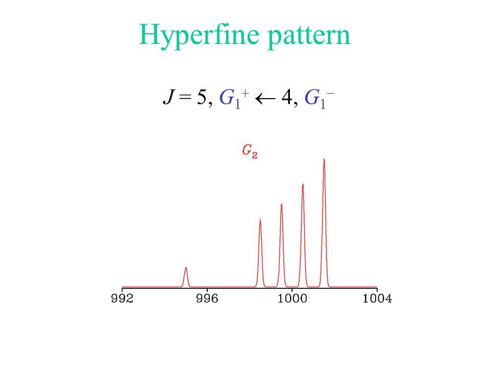 Hyperfine pattern J = 5, G 1   4, G 1 