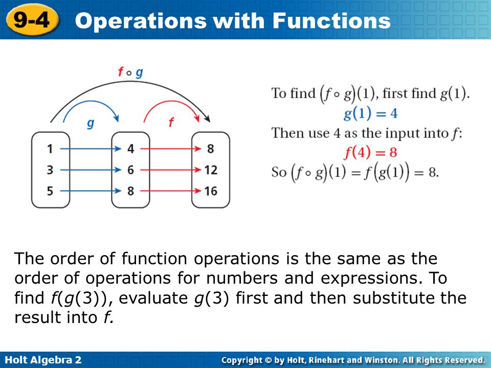 Holt Algebra 2 9-4 Operations with Functions The order of function operations is the same as the order of operations for numbers and expressions. To f