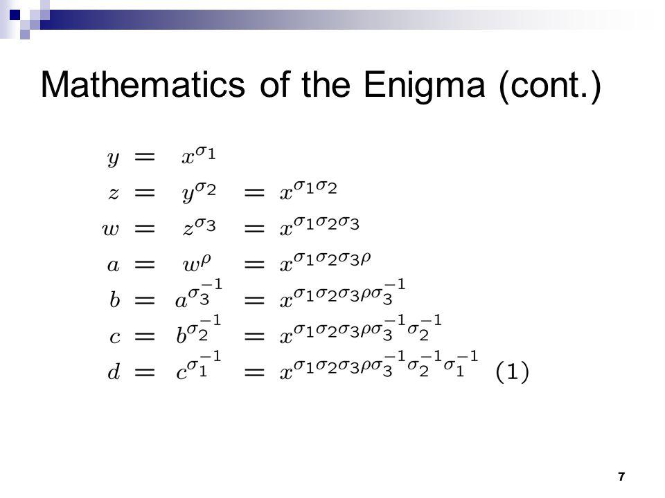 7 Mathematics of the Enigma (cont.)