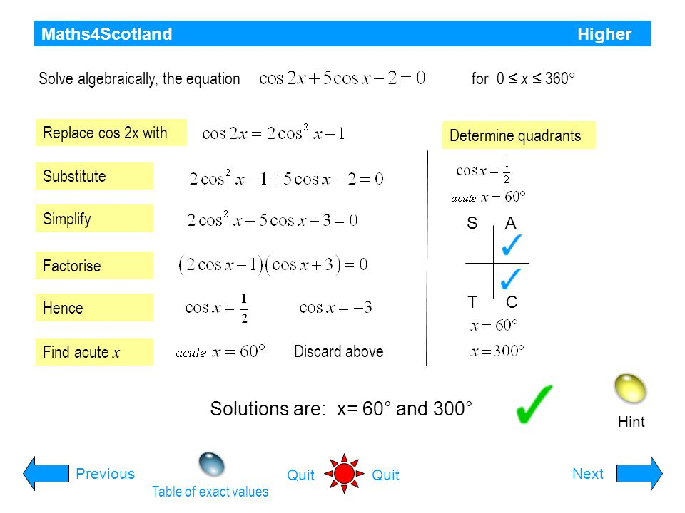 Maths4Scotland Higher Hint PreviousNext Quit Solve the equation for 0 ≤ x ≤ 360° Replace cos 2x with Substitute Simplify Factorise Hence Find acute x