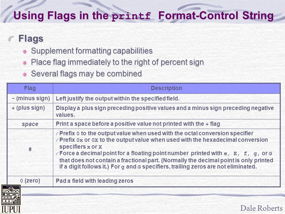 Dale Roberts Using Flags in the printf Format-Control String Flags Supplement formatting capabilities Place flag immediately to the right of percent s