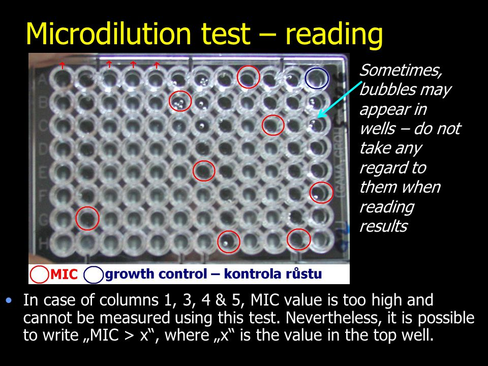 Microdilution test – reading In case of columns 1, 3, 4 & 5, MIC value is too high and cannot be measured using this test.