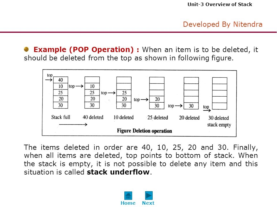 Unit-3 Overview of Stack Developed By Nitendra Example (POP Operation) : When an item is to be deleted, it should be deleted from the top as shown in following figure.