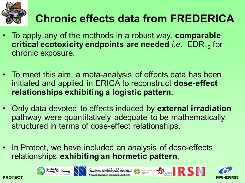 PROTECTFP6-036425 Chronic effects data from FREDERICA Only data devoted to effects induced by external irradiation pathway were quantitatively adequat