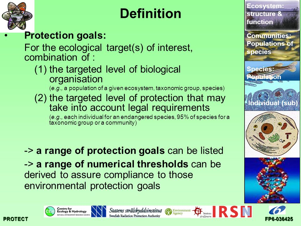 PROTECTFP6-036425 Definition Protection goals: For the ecological target(s) of interest, combination of : (1)the targeted level of biological organisa