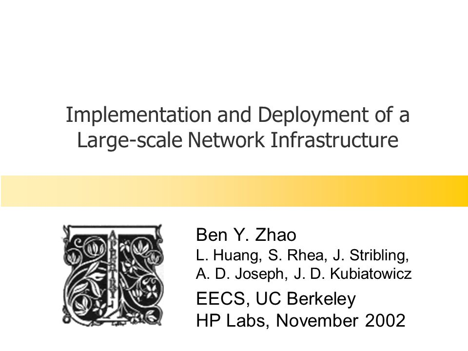HP Labs, 11/26/02 © ravenben@eecs.berkeley.edu32 Reality AS-2 P2P Overlay Network AS-1 AS-3 SR Transit-stub topology, disparate resources per node Result: Inefficient inter-domain routing (b/w, latency)