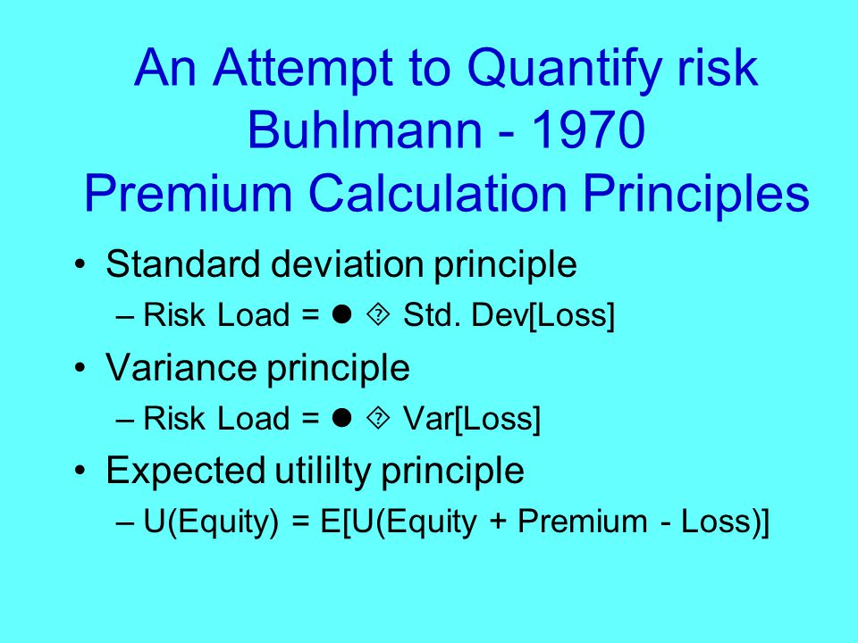 An Early (Late 70's) Use of a Mathematical Formula ISO Increased Limits Ratemaking Used the Variance Principle –Reference — Miccolis (PCAS 1977) –Replaced judgmental risk loads.