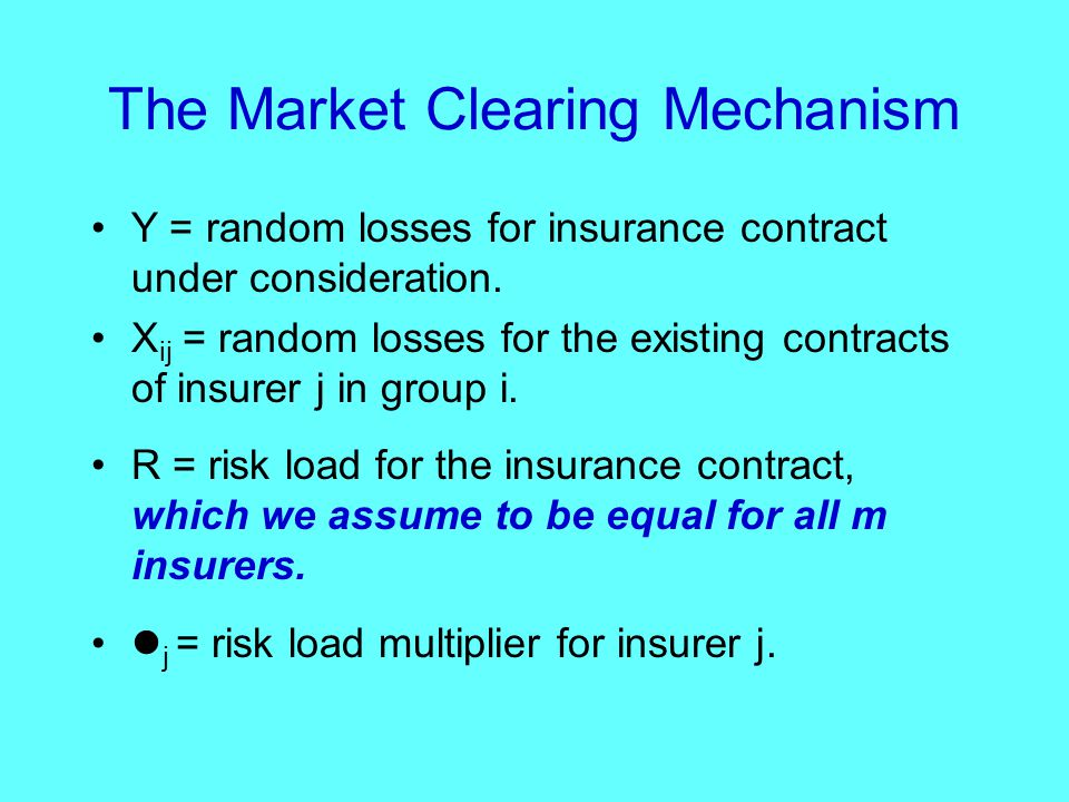 The Market Clearing Mechanism Y = random losses for insurance contract under consideration.