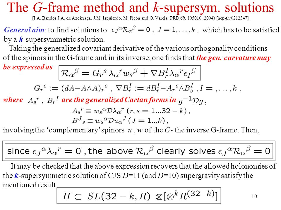 10 The G-frame method and k-supersym. solutions [I.A.