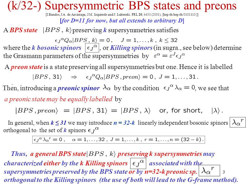 3 (k/32-) Supersymmetric BPS states and preons [I.Bandos, J.A. de Azcárraga, J.M. Izquierdo and J. Lukierski, PRL 20, 4451 (2001), [hep-th/hep-th/0101