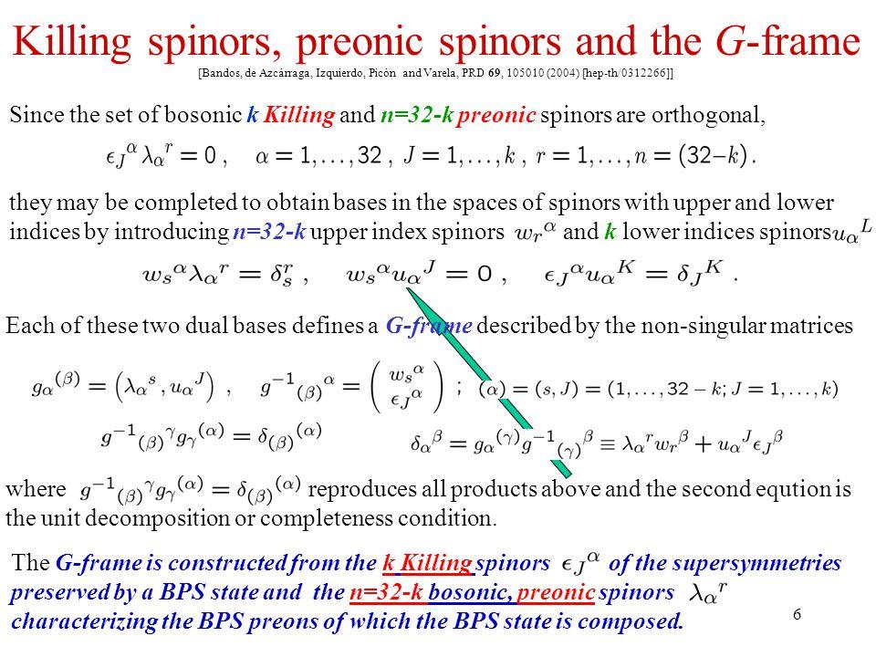 6 Killing spinors, preonic spinors and the G-frame [Bandos, de Azcárraga, Izquierdo, Picón and Varela, PRD 69, 105010 (2004) [hep-th/0312266]] Since t