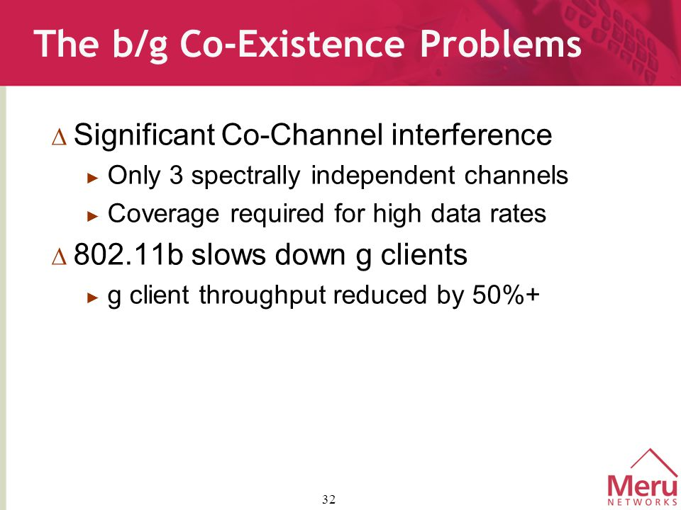 32 The b/g Co-Existence Problems  Significant Co-Channel interference ► Only 3 spectrally independent channels ► Coverage required for high data rates  802.11b slows down g clients ► g client throughput reduced by 50%+