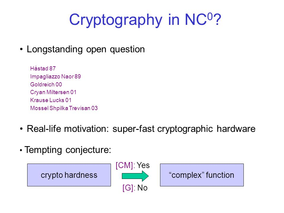 Parallel Cryptography poly-time NC log-space NC 1 AC 0 NC 0 How low can we get?