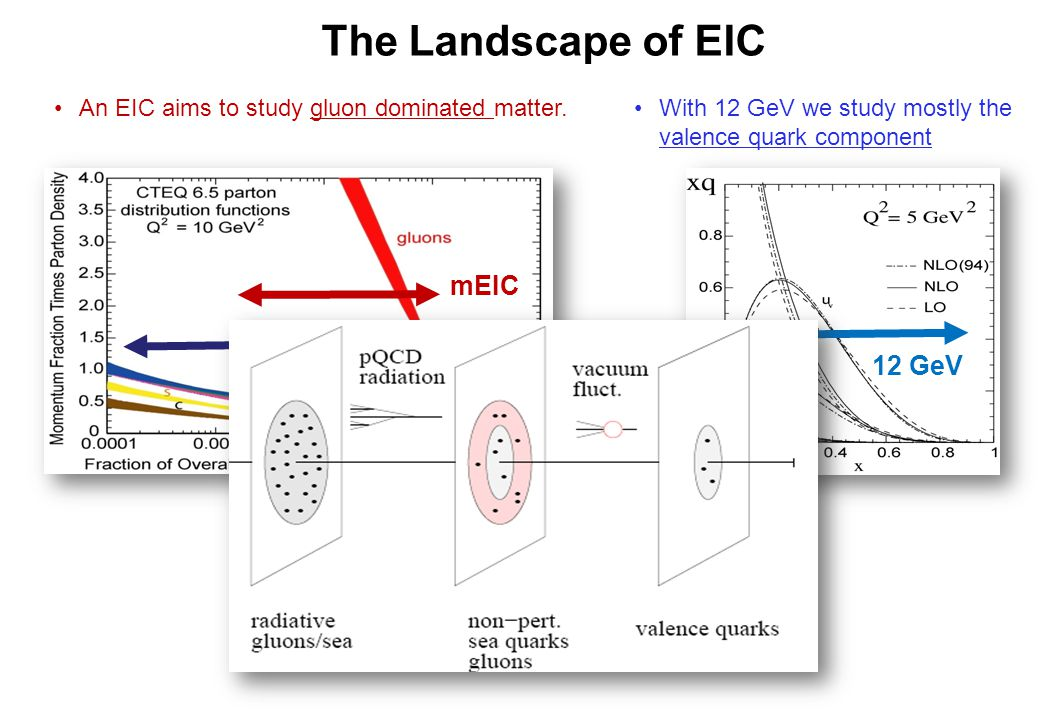 12 GeV With 12 GeV we study mostly the valence quark component An EIC aims to study gluon dominated matter.