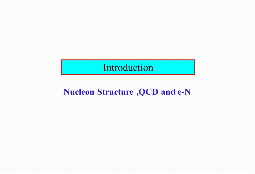 Introduction Nucleon Structure,QCD and e-N