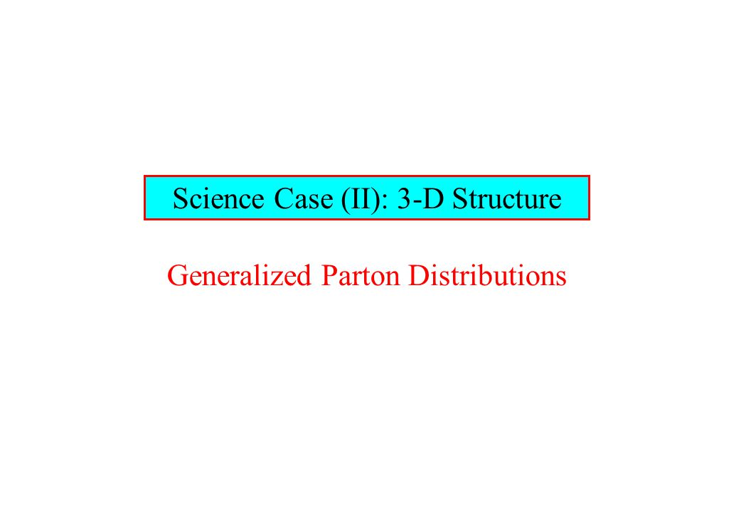 Science Case (II): 3-D Structure Generalized Parton Distributions