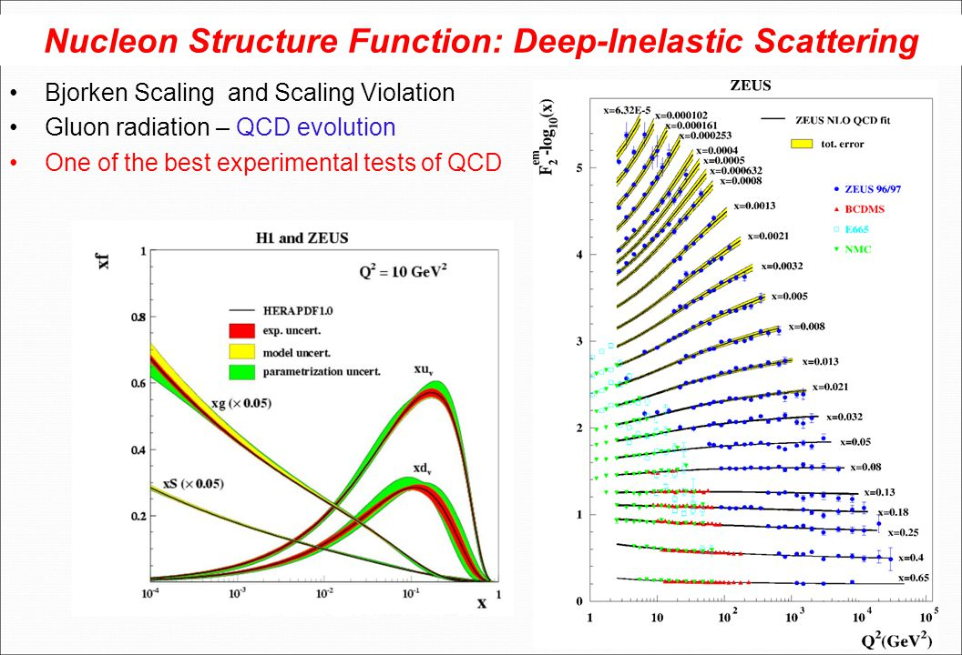 Nucleon Structure Function: Deep-Inelastic Scattering Bjorken Scaling and Scaling Violation Gluon radiation – QCD evolution One of the best experiment
