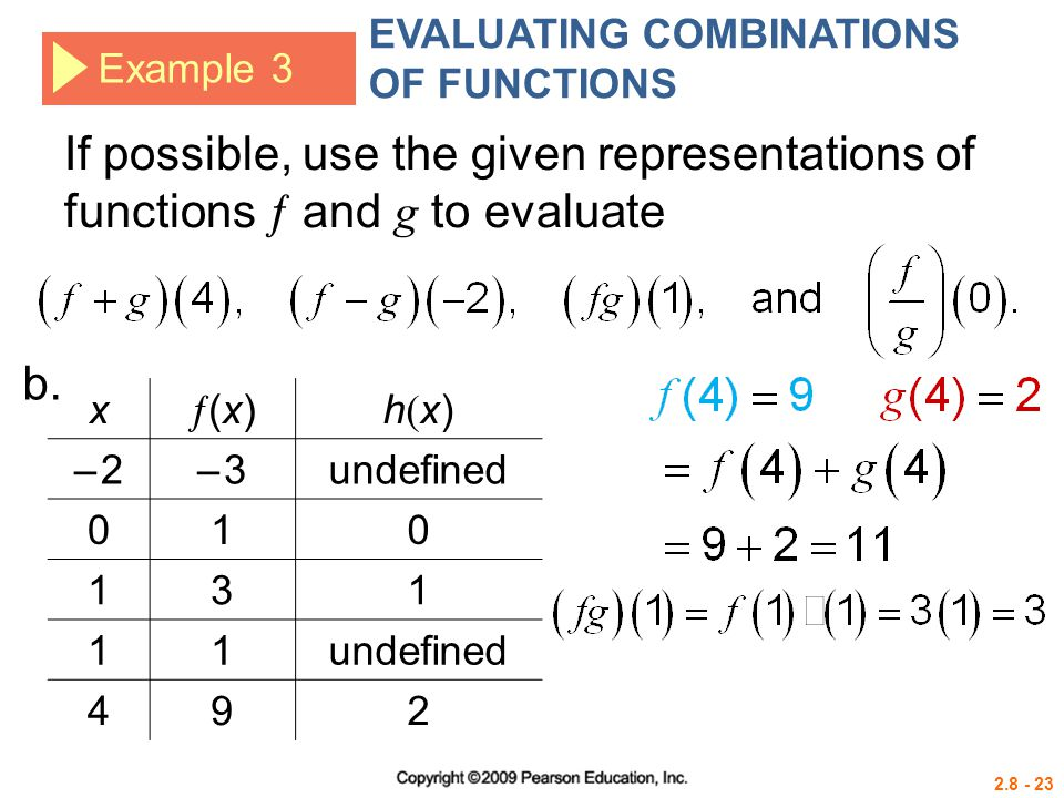 2.8 - 23 Example 3 If possible, use the given representations of functions  and g to evaluate x (x)(x) h(x)h(x) – 2– 2– 3– 3undefined 010 131 11 49