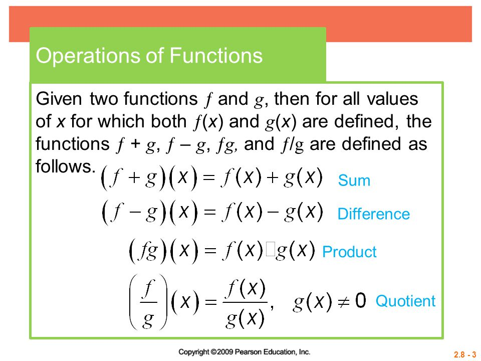 2.8 - 34 Example 5 EVALUATING COMPOSITE FUNCTIONS Let  (x) = 2x – 1 and g (x) b.