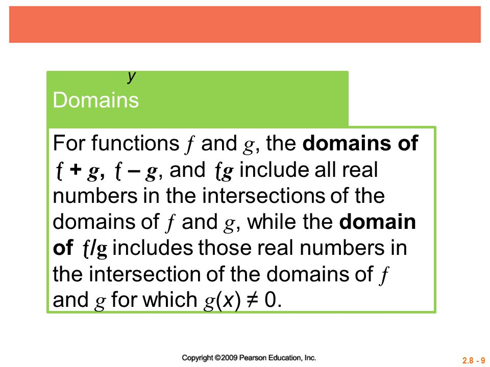 2.8 - 10 Example 2 USING OPERATIONS OF FUNCTIONS AND DETERMINING DOMAINS Let Solution a.