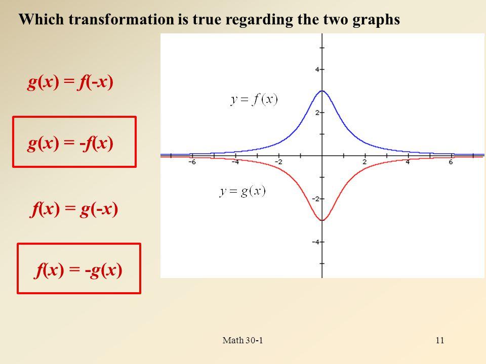 g(x) = -f(x) 11Math 30-1 Which transformation is true regarding the two graphs g(x) = f(-x) f(x) = g(-x) f(x) = -g(x)