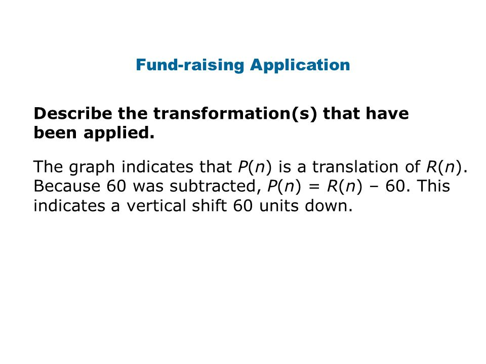 Fund-raising Application Describe the transformation(s) that have been applied.