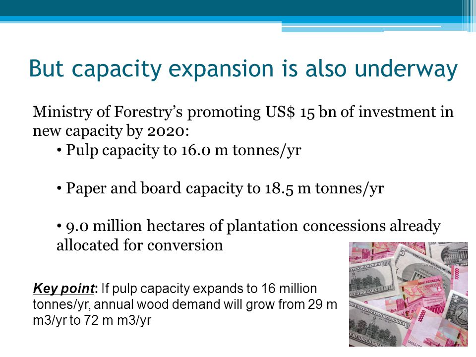 But capacity expansion is also underway Ministry of Forestry's promoting US$ 15 bn of investment in new capacity by 2020: Pulp capacity to 16.0 m tonn
