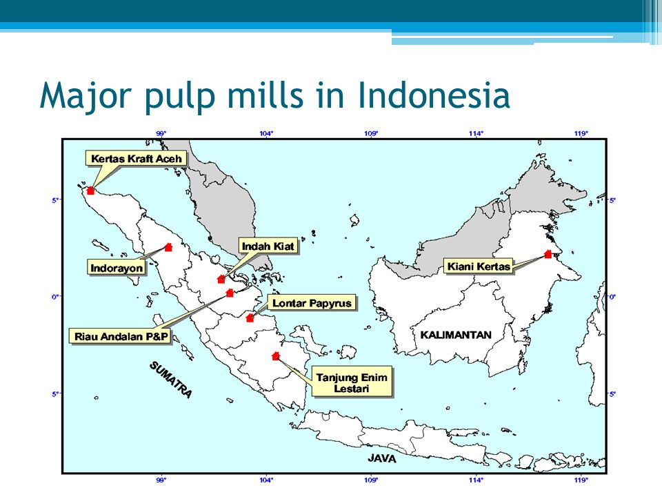 Major pulp mills in Indonesia