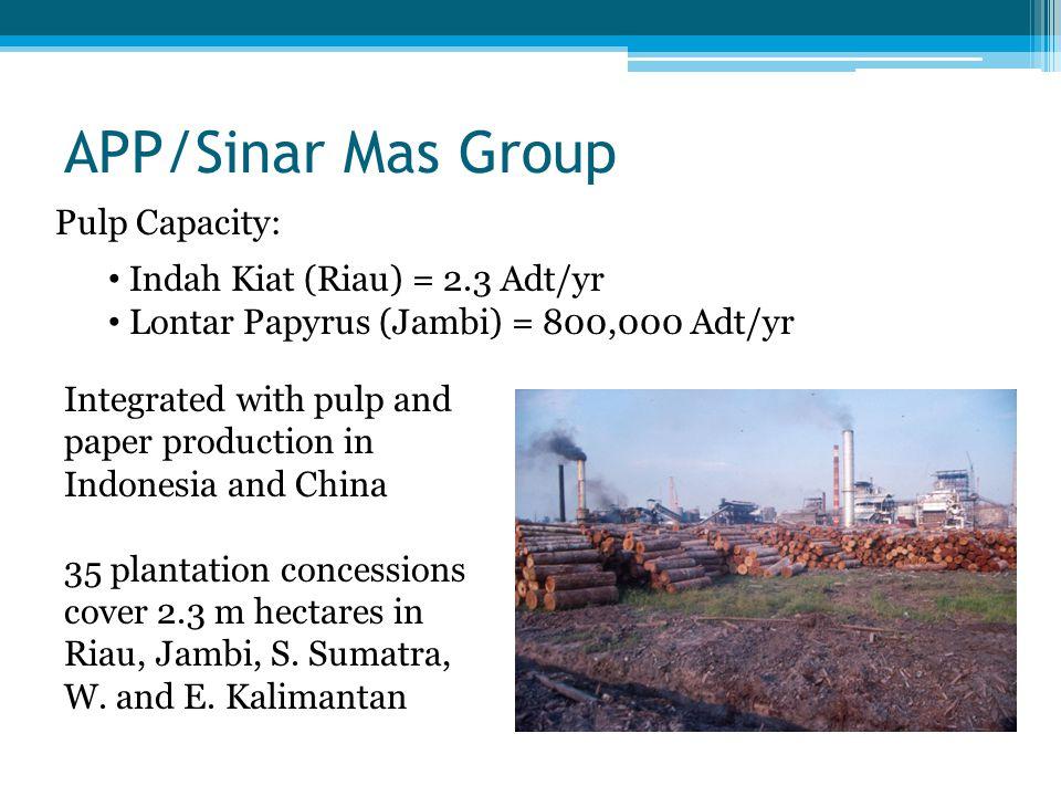 APRIL/RGE Group (formerly RGM) Pulp Capacity: RAPP (Riau) = 2.9 Adt/yr Toba Pulp (N.