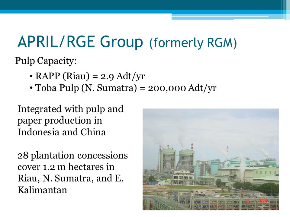 APRIL/RGE Group (formerly RGM) Pulp Capacity: RAPP (Riau) = 2.9 Adt/yr Toba Pulp (N. Sumatra) = 200,000 Adt/yr Integrated with pulp and paper producti