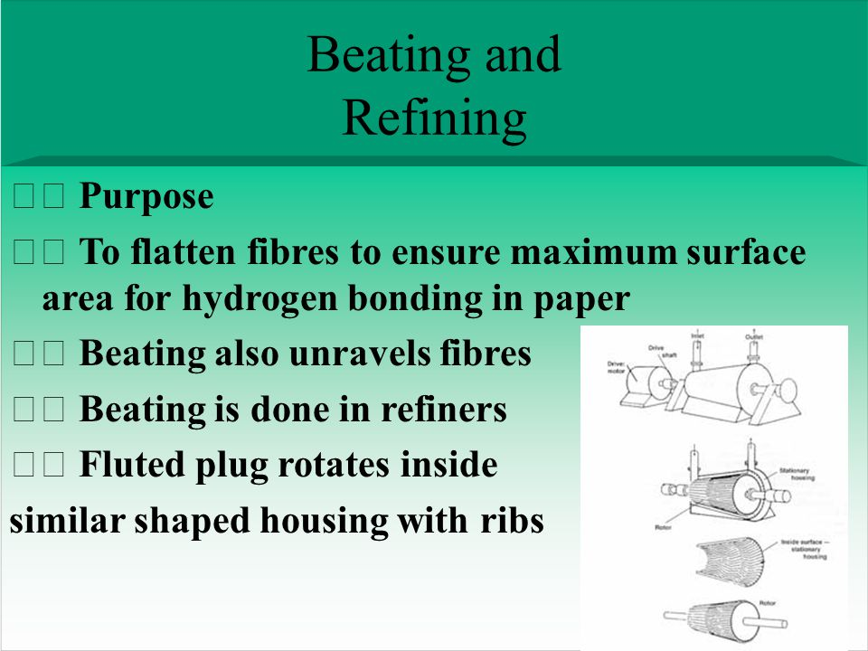 Beating and Refining Purpose To flatten fibres to ensure maximum surface area for hydrogen bonding in paper Beating also unravels fibres Beating is done in refiners Fluted plug rotates inside similar shaped housing with ribs